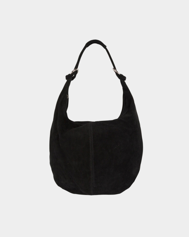 black suede pouch bag