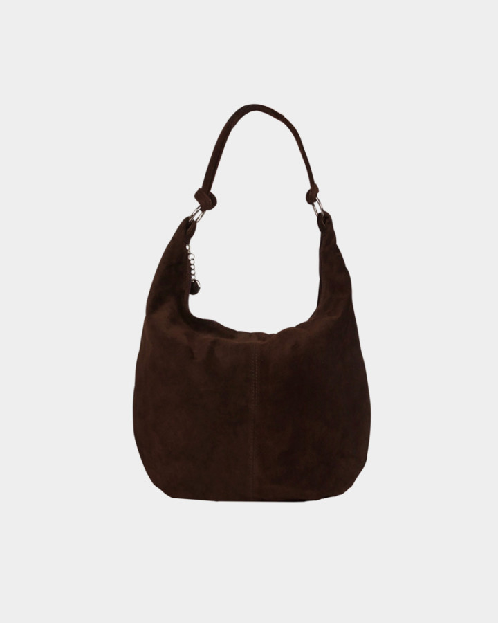 dark brown suede pouch bag