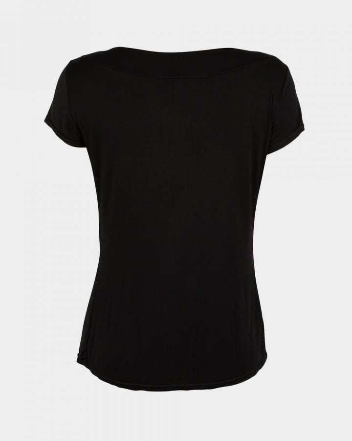 short sleeve drape black back