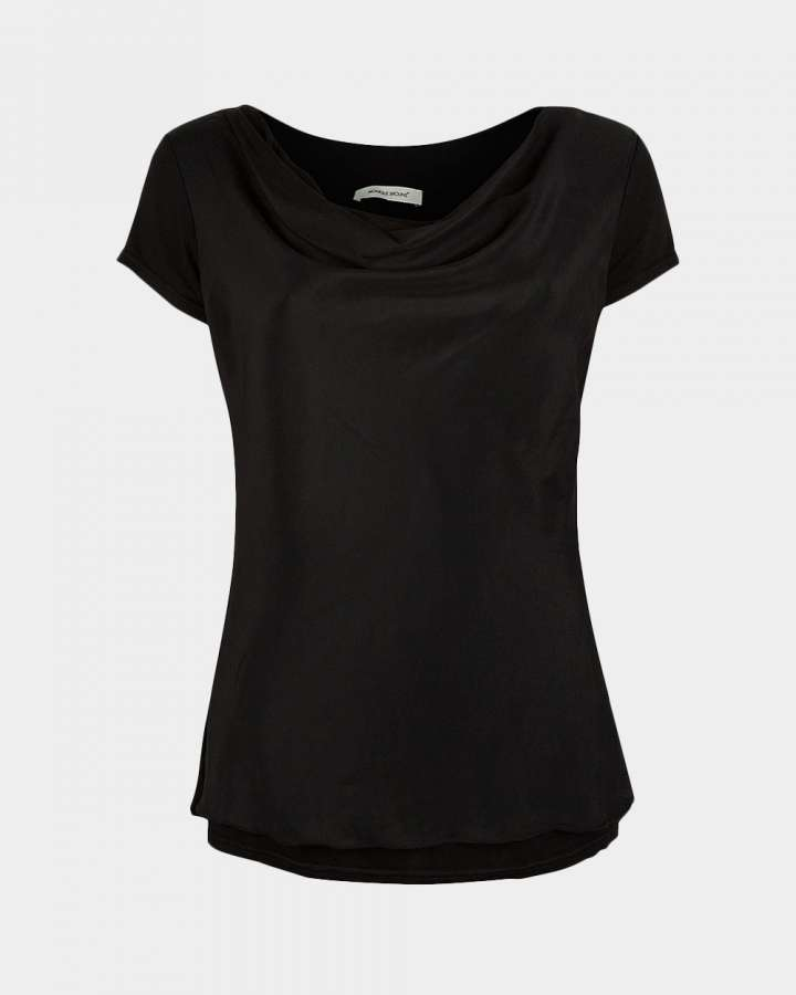 short sleeve drape black front