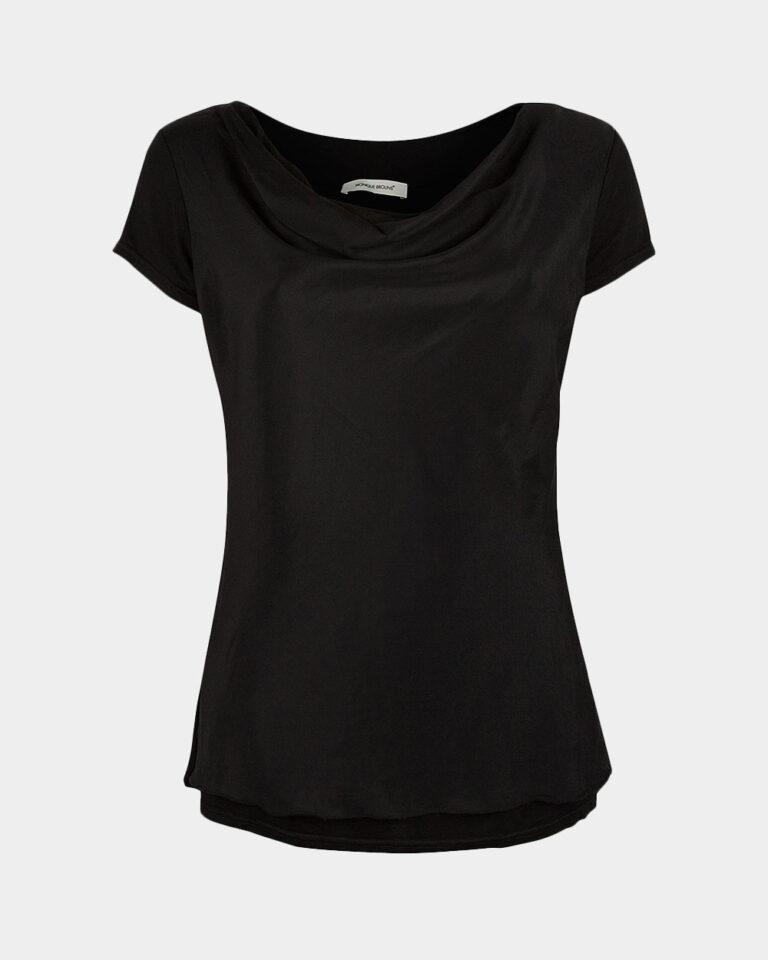 short sleeve drape black front