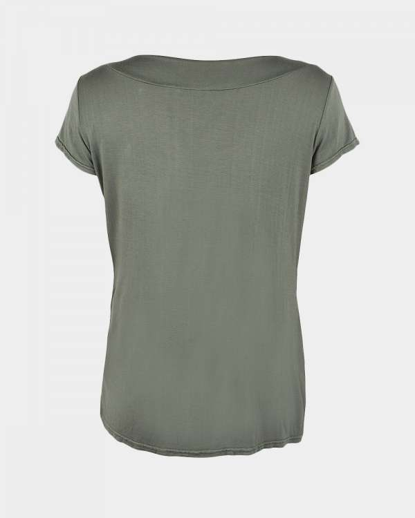 short sleeve drape jade green back