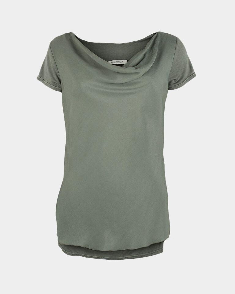 short sleeve drape jade green front