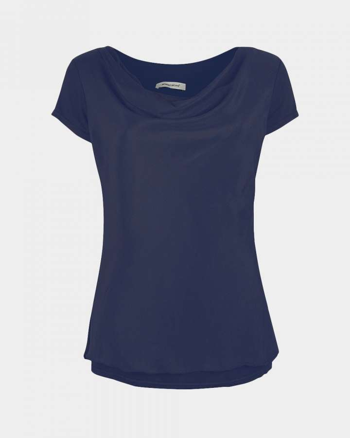 short sleeve drape navy front