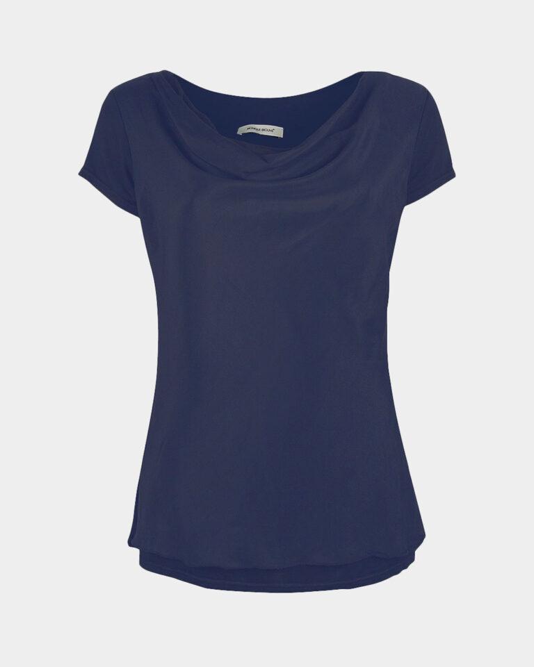 short sleeve drape navy front