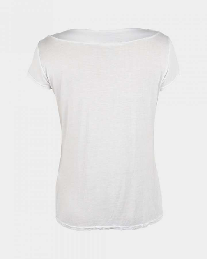 short sleeve drape white back