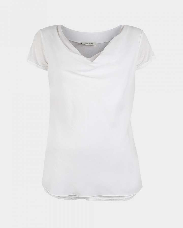 short sleeve drape white front