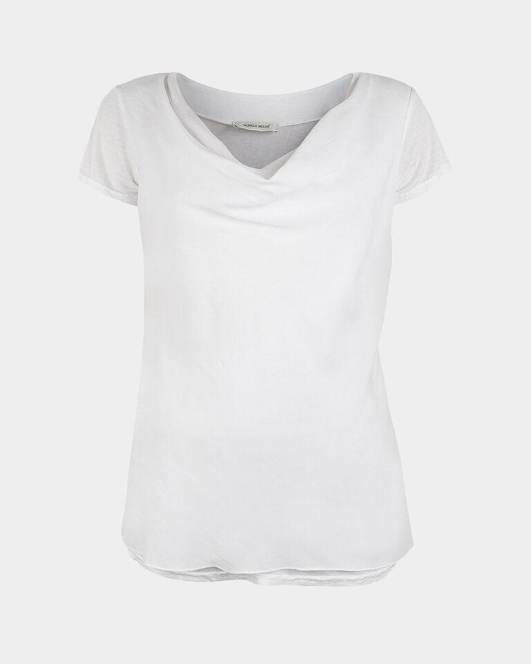 short sleeve drape white front