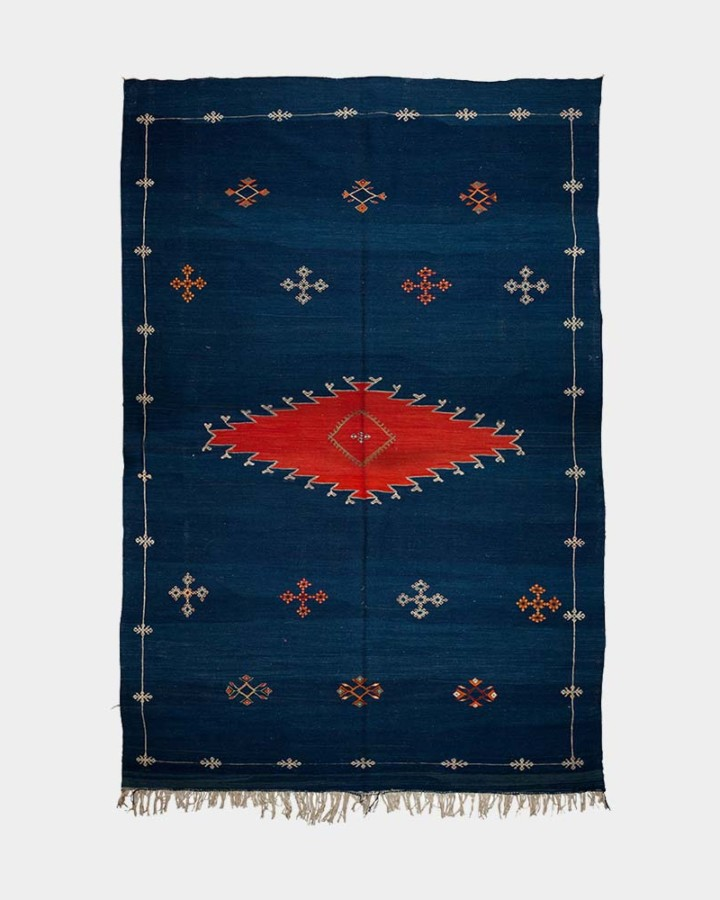 blue wool carpet Achnif 300 x 190 cm