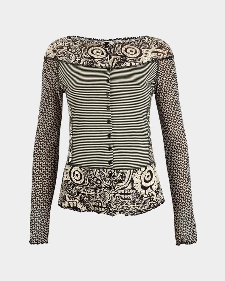 black/white patchwork top