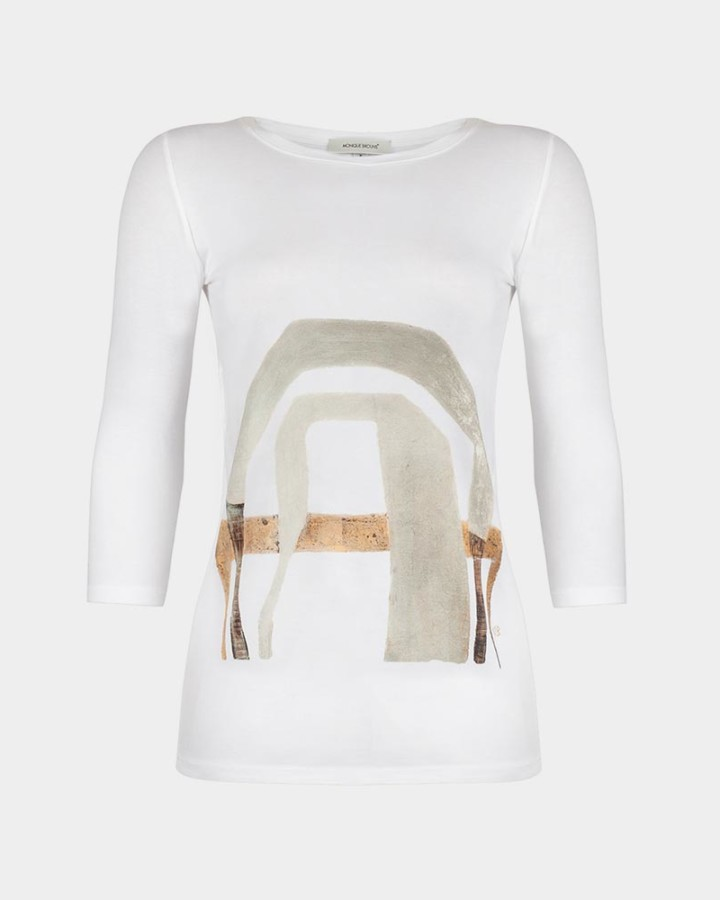 organic white tee with abstract print