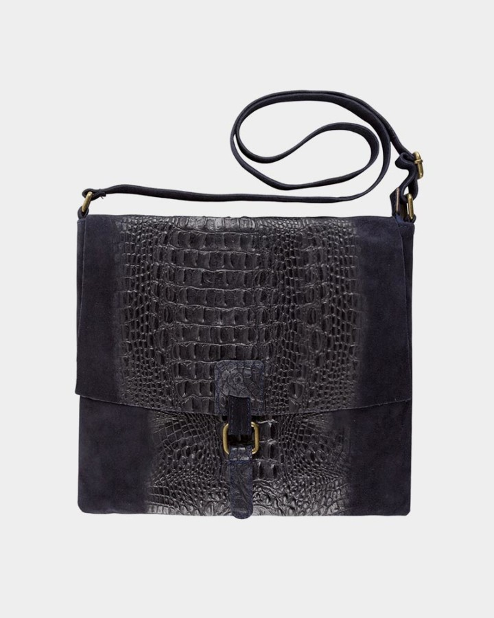 navy croco bag