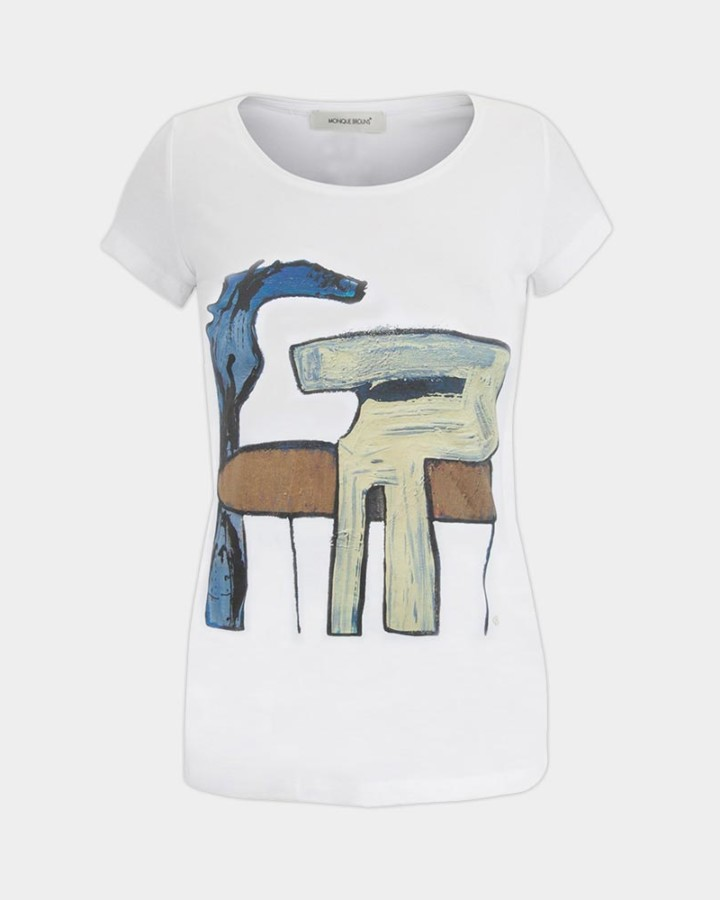 slim fit white t-shirt with abstract print