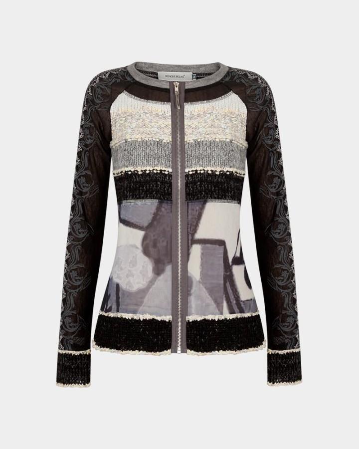 black/grey cardigan with zip