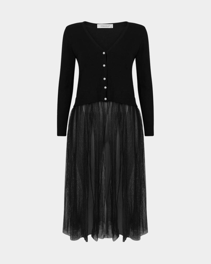 black long knitted dress with tulle fabric