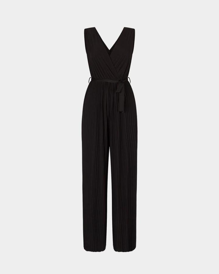 black plisse jumpsuit