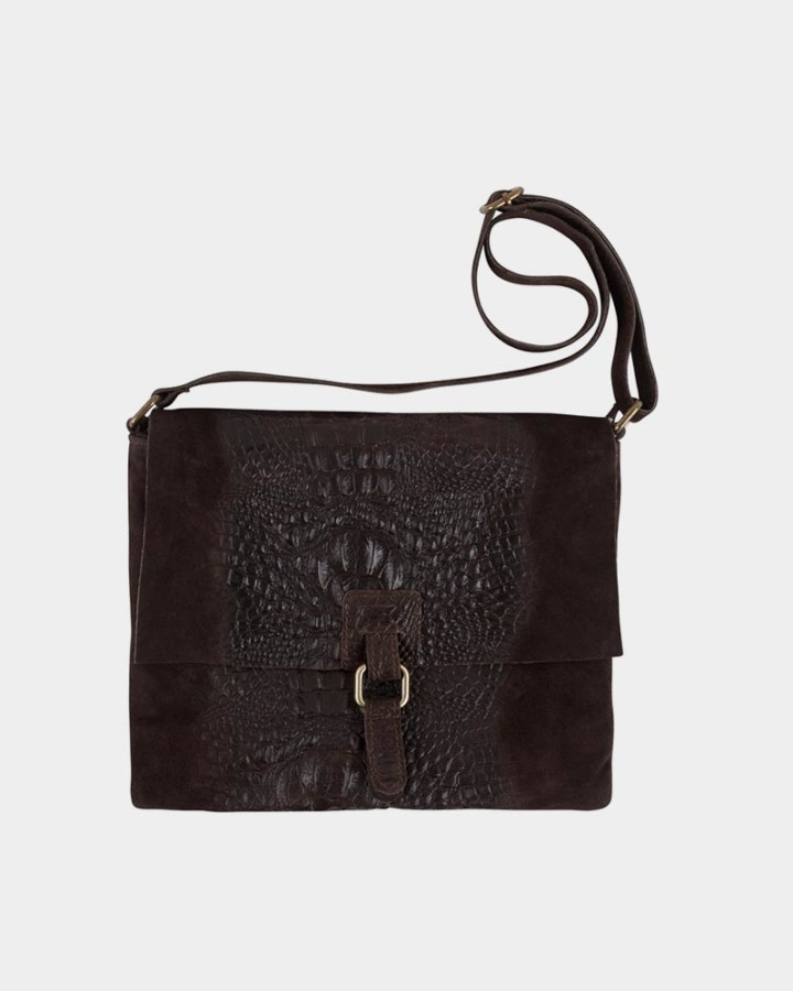 dark brown croco bag