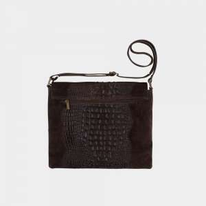 dark brown croco bag back