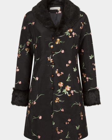 black silk embroided coat