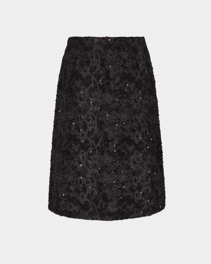 black sequins stretch skirt