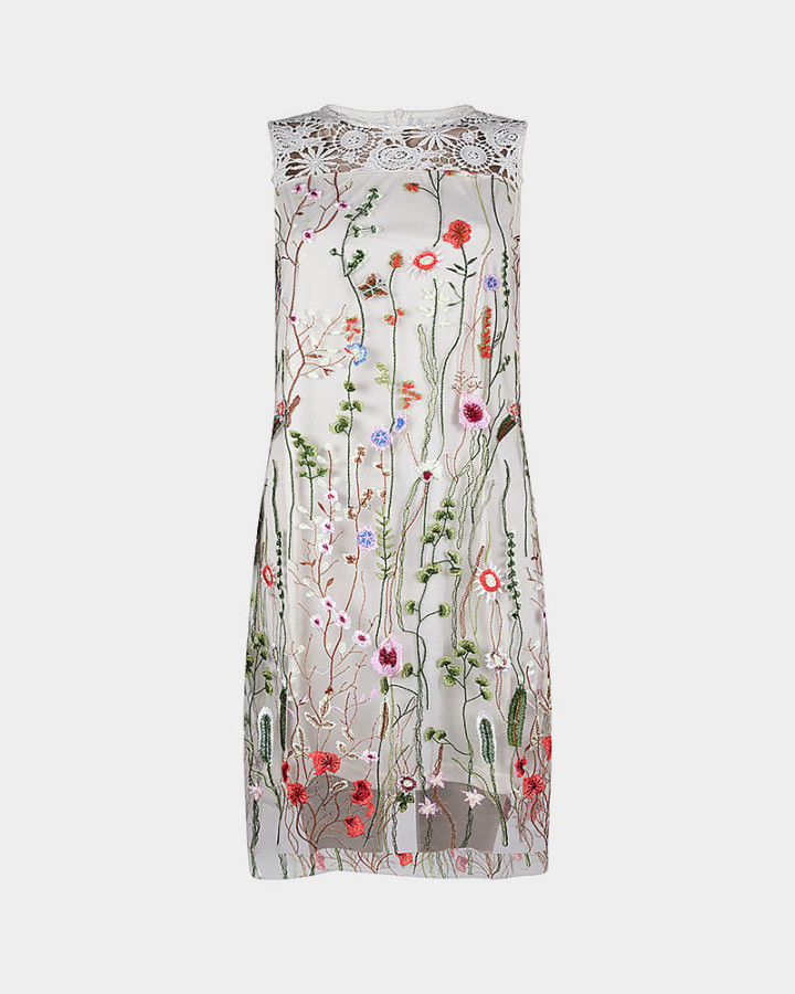 embroidered sleeveless dress front