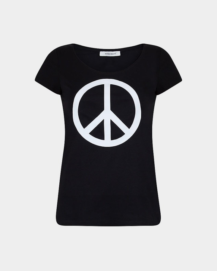 black t-shirt with peace sign