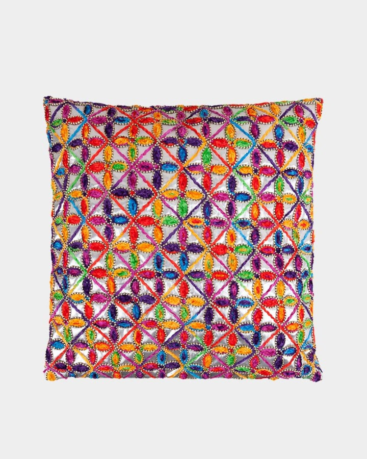 multi colour embroidered pillow front