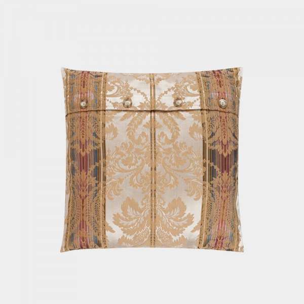 jacquard woven pillow with button closure