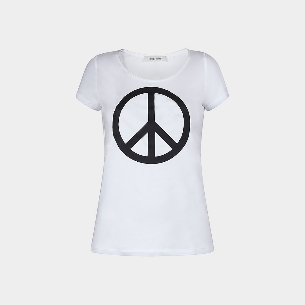 white t-shirt with peace sign