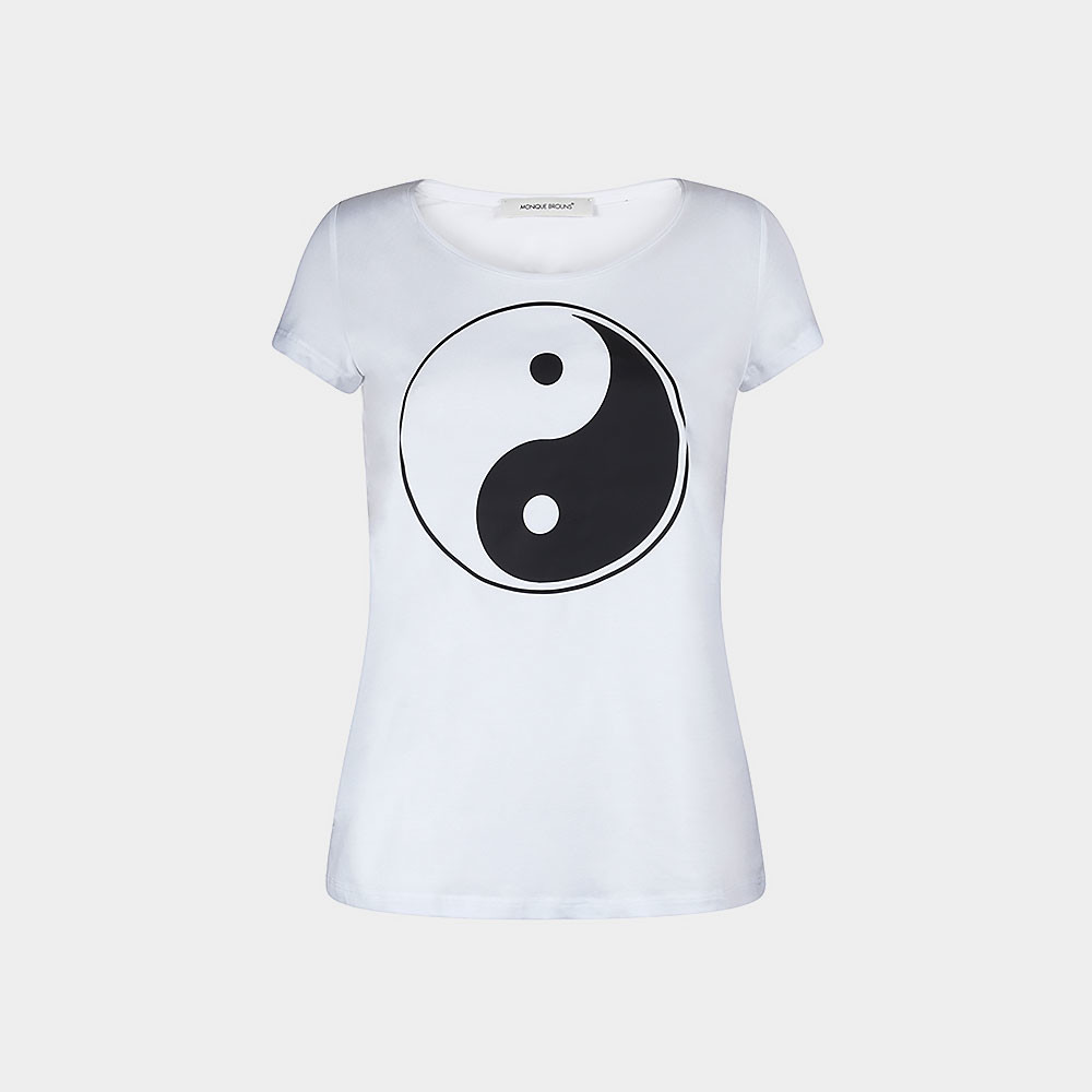 white t-shirt with yin/yang sign