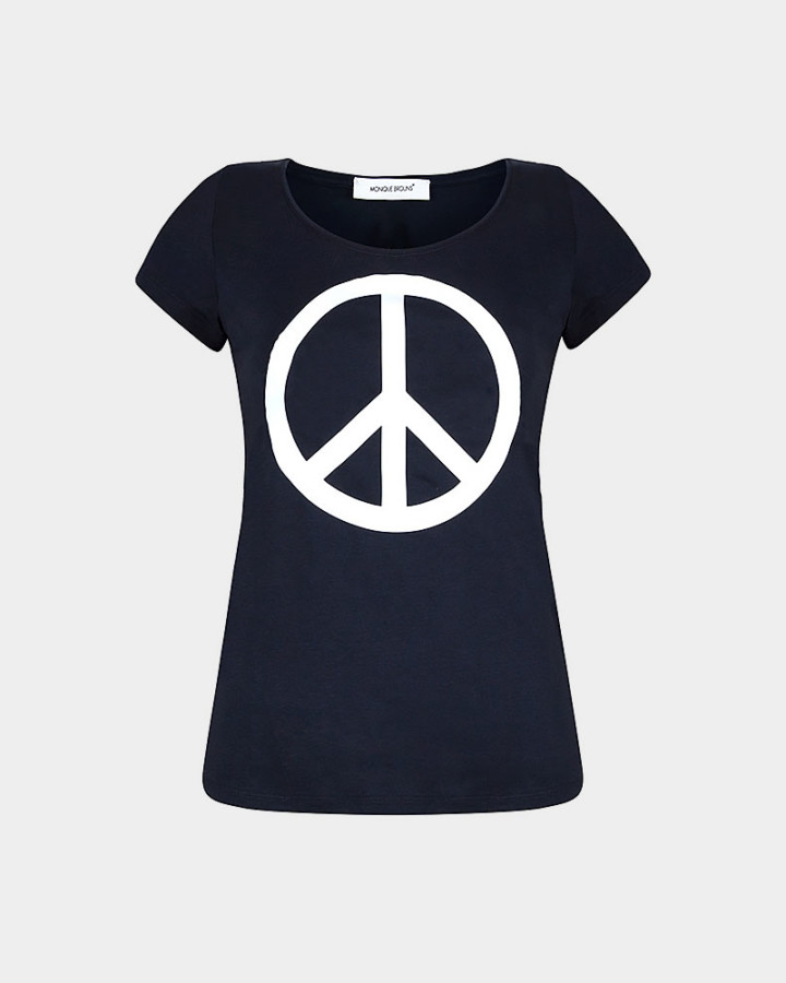 navy t-shirt with peace sign