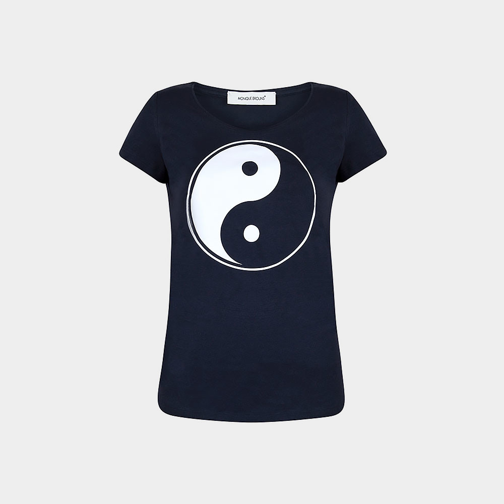 navy t-shirt with yin/yang sign