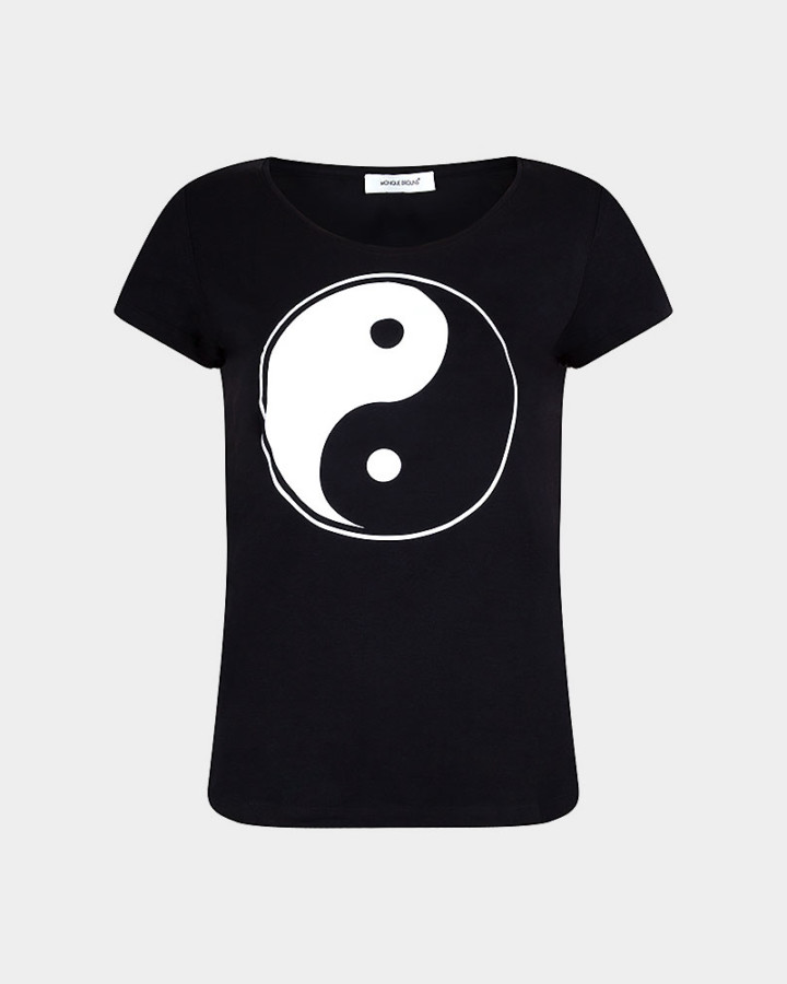 black t-shirt with yin/yang sign