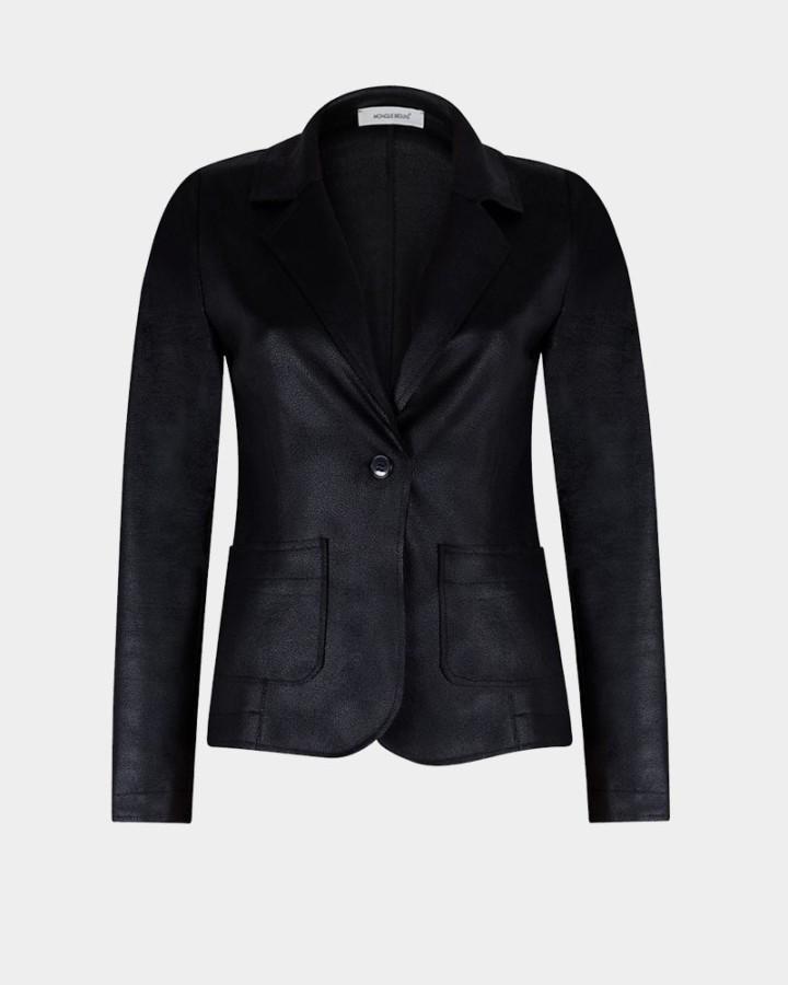 black stretch jacket in imitation leather