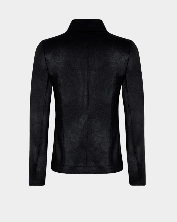 black stretch jacket in imitation leather