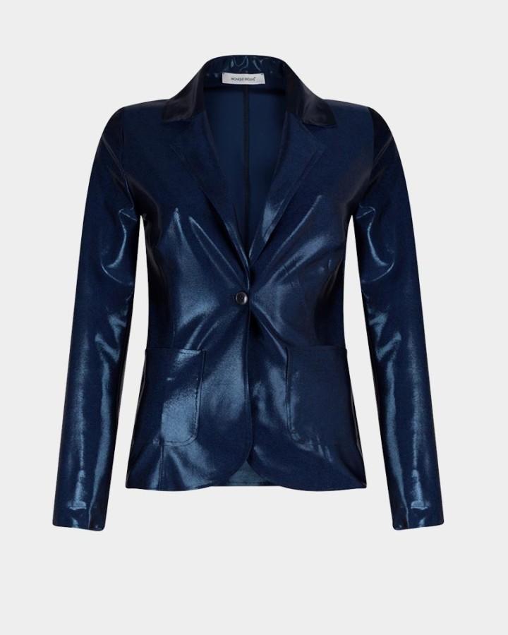 navy stretch jacket with metallic shine