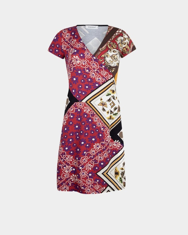 patchwork wrap dress