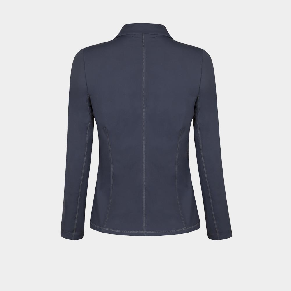 grijze stretch blazer achterkant