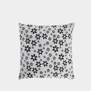 wit/zwart kussen met bloemenprint