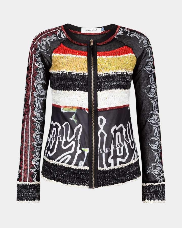 black cardigan with zip / zwart vest met rits