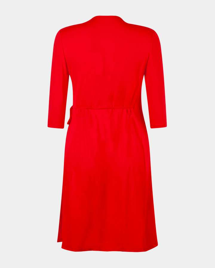 red wrap dress / rode overslagjurk