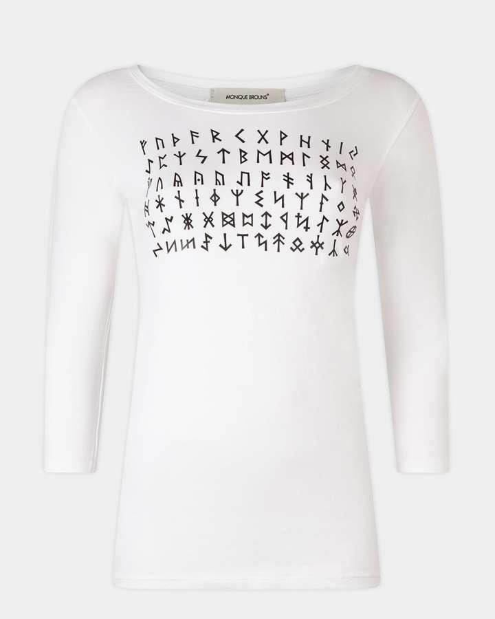 white t-shirt with Rune alphabet print / wit t-shirt met Rune alphabet print