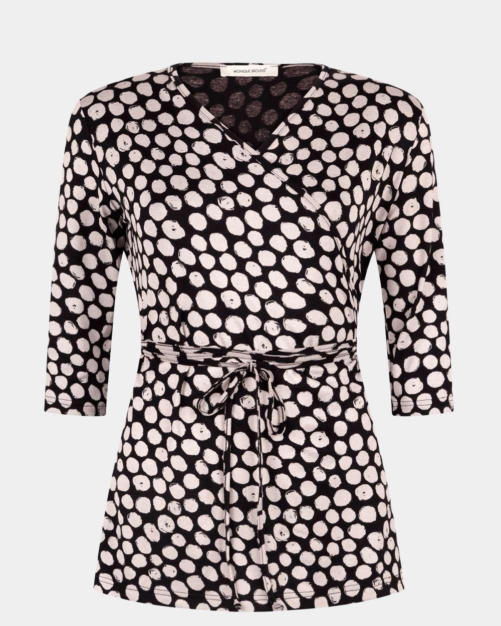 black & off white wrap top
