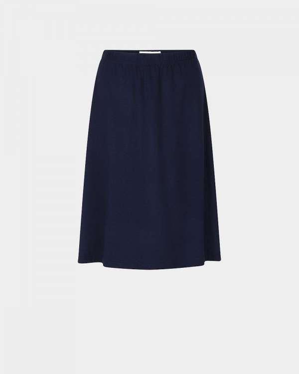navy knee-length fluid skirt