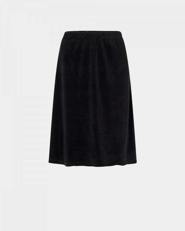 black velvet flared skirt