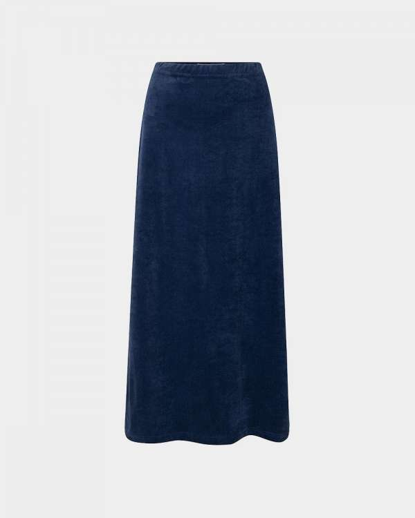 blue long velvet skirt