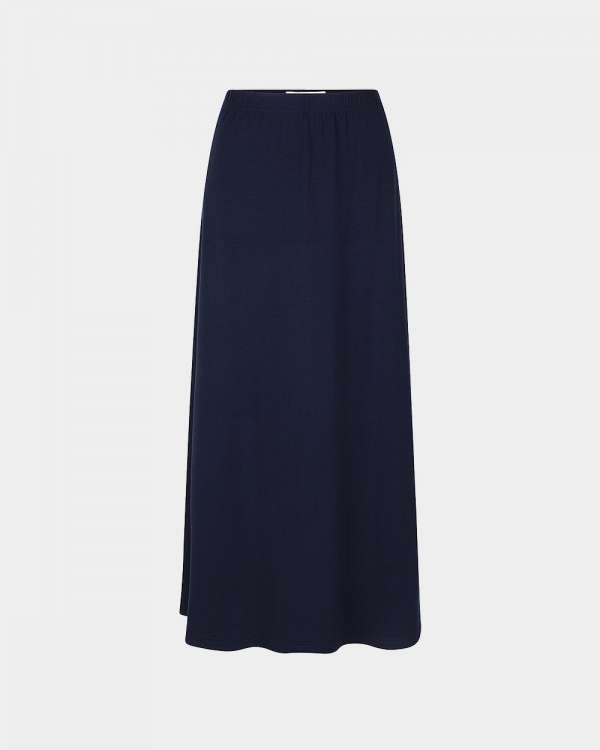 navy flared maxi skirt
