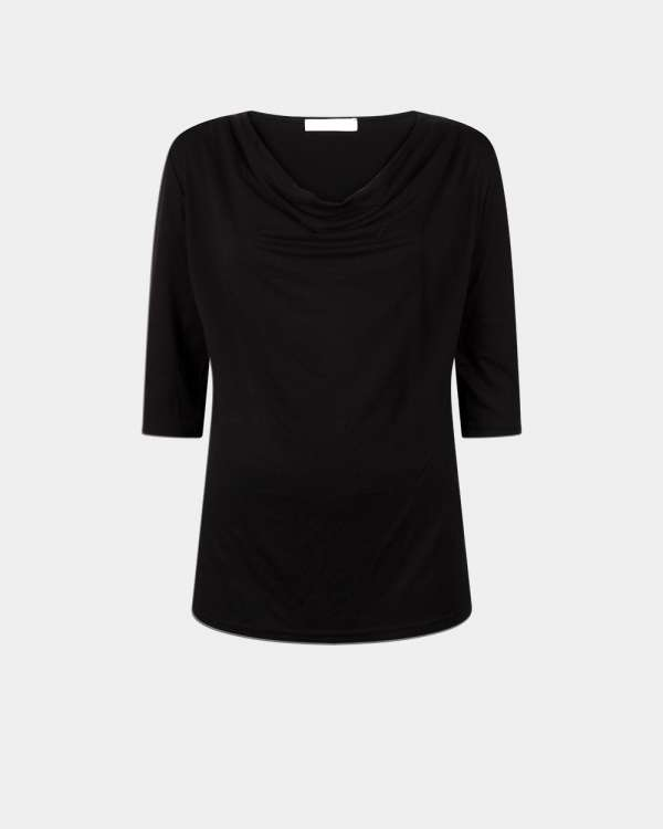 front black drape top with 3/4 sleeves