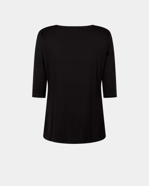 back black drape top with 3/4 sleeves