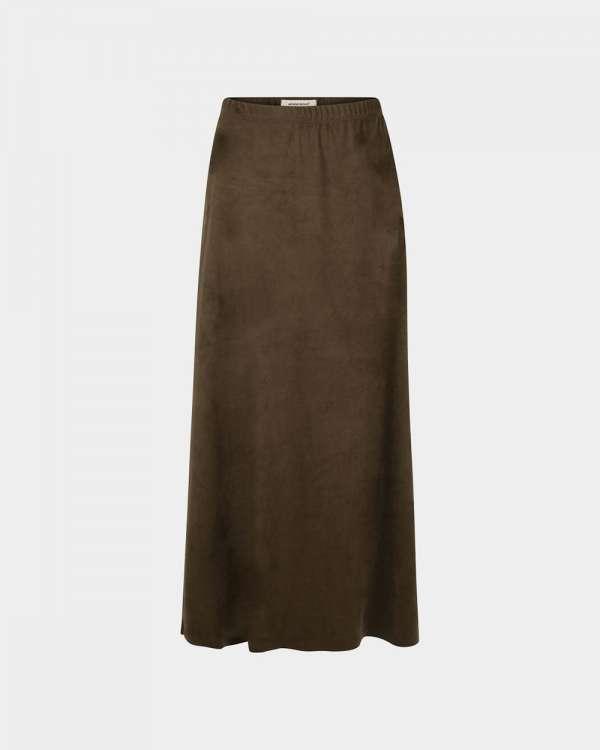 olive suedine skirt